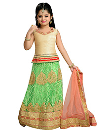 Aarika Zari Thread Work Embroidered Lehenga Top & Dupatta - Green Gold & Orange