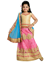 Aarika Zari Thread Work Embroidered Lehenga Top & Dupatta - Pink Gold & Sky Color