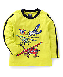 Taeko Full Sleeves T-Shirt Sky Adventure Print - Yellow