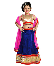 Aarika Mirror Work Lehenga Top & Dupatta - Blue Gold Red & Pink