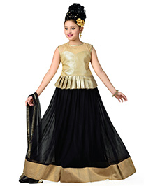 Aarika Designer Wear Lehenga Top & Dupatta Set - Black & Golden