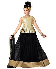 Aarika Designer Wear Lehenga Top & Dupatta Set - Black & Golden