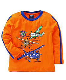 Taeko Full Sleeves T-Shirt Sky Adventure Print - Orange