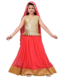 Aarika Designer Wear Lehenga Top & Dupatta Set - Gajri Red & Golden