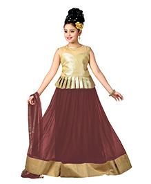 Aarika Designer Wear Lehenga Top & Dupatta Set - Coffee Brown & Golden