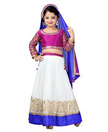 Aarika Zari Embroidered Lehenga Top & Dupatta - White Violet & Blue