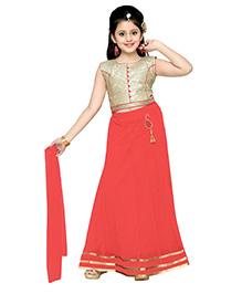 Aarika Self Design Elegant Lehenga Choli & Dupatta Set - Cerise Red