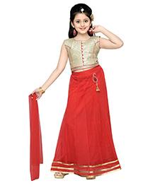 Aarika Self Design Elegant Lehenga Choli & Dupatta Set - Red