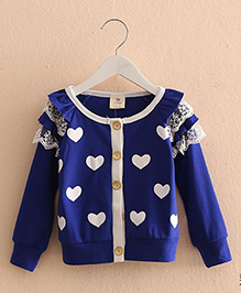 Pre Order - Mauve Collection Cute Heart Print Autumn Pullover - Blue