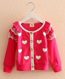 Pre Order - Mauve Collection Cute Heart Print Autumn Pullover - Pink