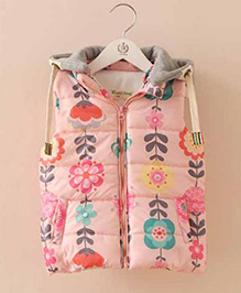 Mauve Collection Quilted Style Trendy Print Jacket - Pink