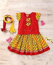 Exclusive from Jaipur Short Sleeves Choli And Lehenga With Dupatta - Red Yellow