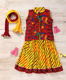 Exclusive from Jaipur Sleeveless Choli And Lehenga With Dupatta Floral Print - Red Yellow