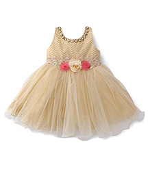 Bluebell Sleeveless Party Frock Flower Appliques - Beige