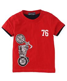 Smarty Half Sleeves T-Shirt Motorbike Print - Red