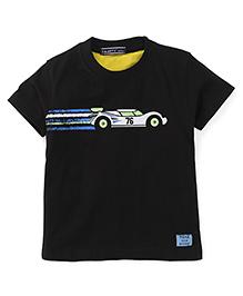 Smarty Half Sleeves T-Shirt Car Print - Black