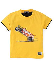 Smarty Half Sleeves T-Shirt Drag Racer Print - Yellow
