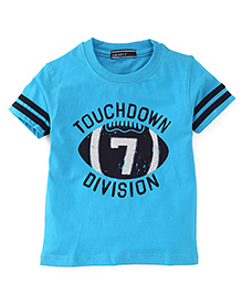 Smarty Half Sleeves T-Shirt Touchdown 7 Division Print - Sky Blue