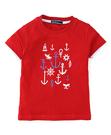Smarty Half Sleeves T-Shirt  Printed - Red