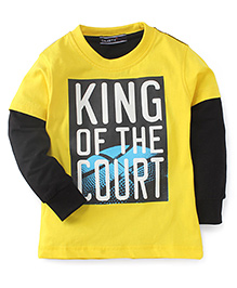 Smarty Doctor Sleeves T-Shirt King Of The Court Print - Yellow & Black