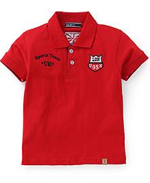 Smarty Half Sleeves Collar Neck T-Shirt Team UK Print - Red