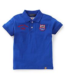 Smarty Half Sleeves Collar Neck T-Shirt Team UK Print - Royal Blue