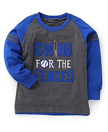 Smarty Full Sleeves T-Shirt Swing For The Fences Print - Blue & Grey