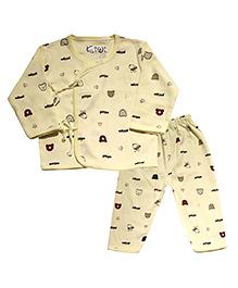 Kiwi Full Sleeves Nightwear Puppy Print - Yellow