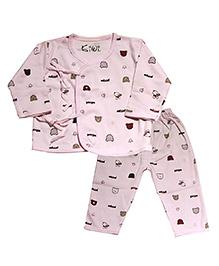 Kiwi Full Sleeves Nightwear Puppy Print - Pink