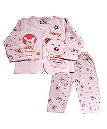Kiwi Full Sleeves Nightwear Teddy Print - Pink