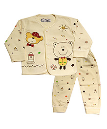 Kiwi Full Sleeves Nightwear Teddy Print - Yellow