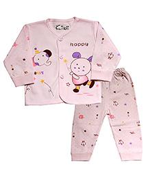 Kiwi Full Sleeves Nightwear Happy Print - Pink