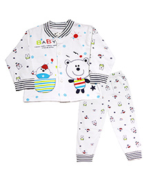 Kiwi Full Sleeves Nightwear Teddy Print - White
