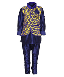 Needybee Ethnic Breeches & Kurta Set With Jacket Set - Yellow & Blue