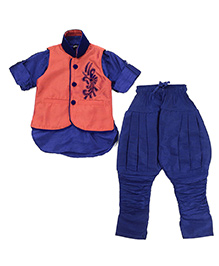 Needybee Traditional Kurta Breeches With Jacket - Blue & Maroon