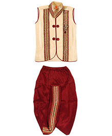 Needybee Dhoti With Sleeveless Jacket Dress Set - Maroon & Cream