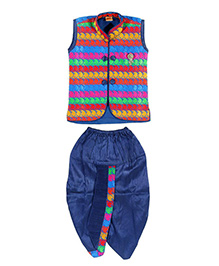 Needybee Dhoti With Jacket Set - Blue & Multicolor