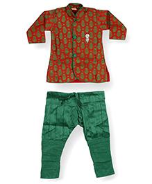 Needybee Designer Traditional Sherwani With Churidar Breeches - Red & Green