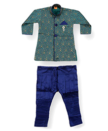 Needybee Ethnic Churidar Breeches & Sherwani Set For Kids - Blue