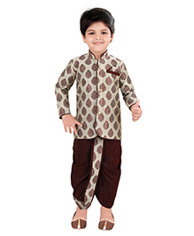 Needybee Traditional Sherwani Kurta & Dhoti Set For Boys - Maroon