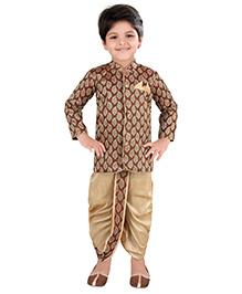 Needybee Sherwani Kurta & Dhoti Set Festive Set For Boys - Golden & Maroon