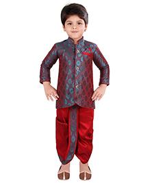 Needybee Sherwani Kurta & Dhoti Ethnic Set For Kids - Red & Blue