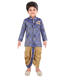 Needybee Embellished Kurta & Dhoti Ethnic Wear Set For Kids - Blue & Golden