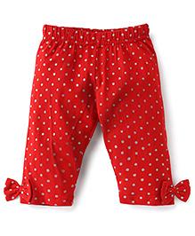Babyhug Full Length Glitter Polka Dot Leggings Bow Applique - Red