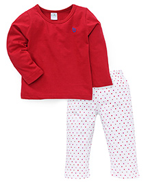 Babyhug Full Sleeves Plain T-Shirt And Dotted Pajama Nightwear - Red