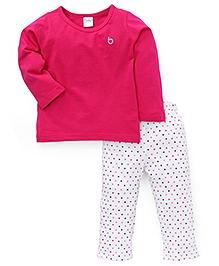 Babyhug Full Sleeves Top And Dotted Pajama - Dark Pink White