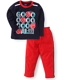 Taeko Full Sleeves T-Shirt And Pant Go Print - Navy And Red
