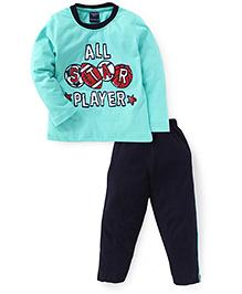 Taeko Full Sleeves T-Shirt And Pant Player Print - Aqua And Navy