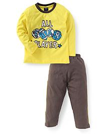 Taeko Full Sleeves T-Shirt And Pant Player Print - Yellow And Dark Beige