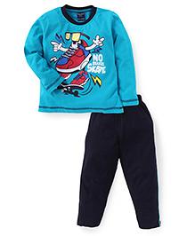 Taeko Full Sleeves T-Shirt And Pant Skates Print - Teal Blue And Navy
